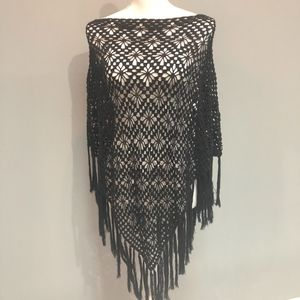 Sweaters - Black Crocheted Poncho with Fringe Detail